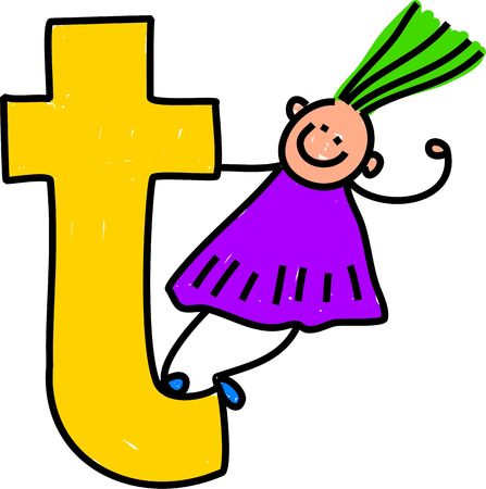 playschool: happy little girl climbing over a giant letter T - lowercase version Stock Photo