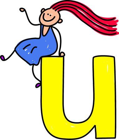 happy little girl sitting on giant letter U - lowercase version
