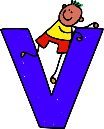 playschool: happy little ethnic boy climbing over giant letter V - toddler art series