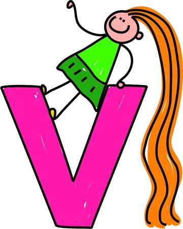 playschool: happy little girl climbing over giant letter V - toddler art series