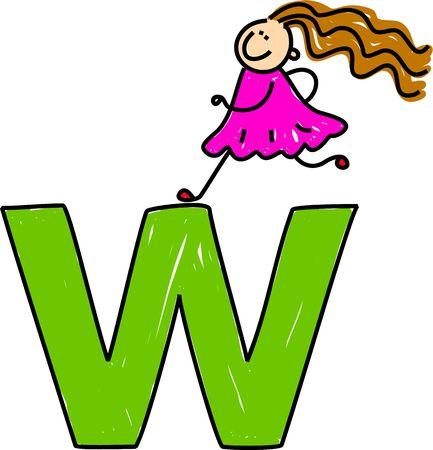 happy little girl climbing over giant letter W - toddler art series Stock Photo