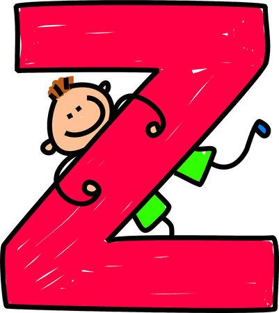 interact: happy little boy climbing over giant letter Z - toddler art series Stock Photo