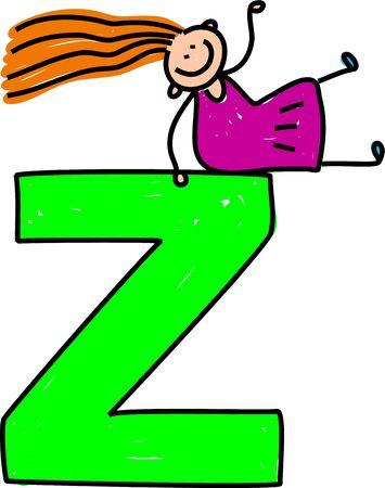 playschool: happy little girl sitting on giant letter Z - toddler art series