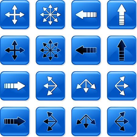 rollover: collection of square blue rollover arrow buttons