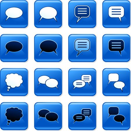 rollover: collection of blue square speech bubble rollover buttons