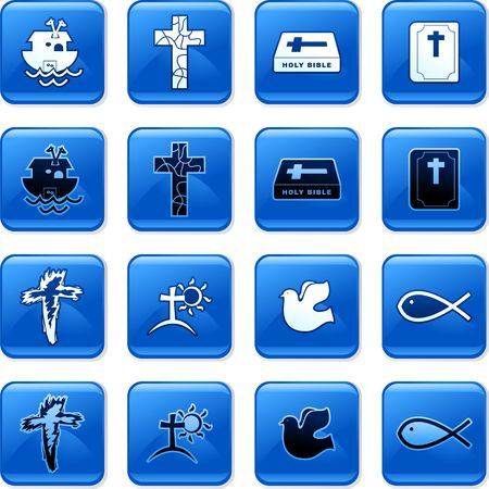 rollover: collection of blue square Christian rollover buttons Stock Photo