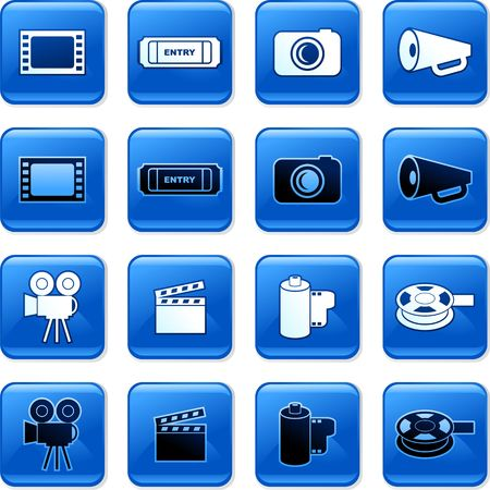 rollover: collection of blue square film rollover buttons