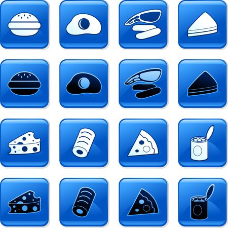 rollover: collection of blue square fast food rollover buttons