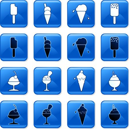 collection of blue square ice cream rollover buttons photo