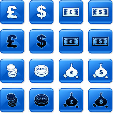 rollover: collection of blue square money rollover buttons Stock Photo