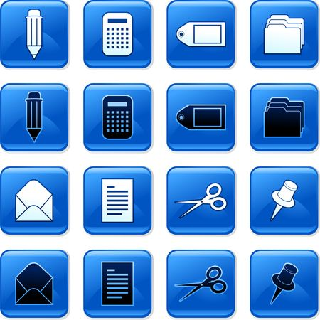 collection of blue square office rollover buttons photo