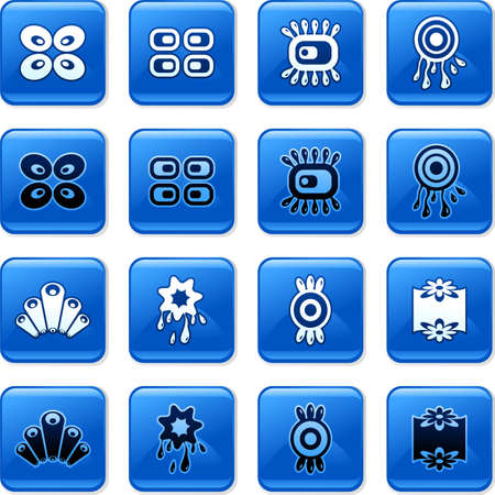 rollover: collection of blue square retro rollover buttons