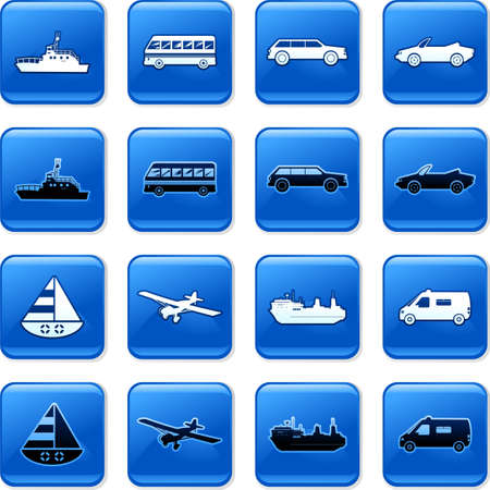 rollover: collection of blue square transportation rollover buttons Stock Photo