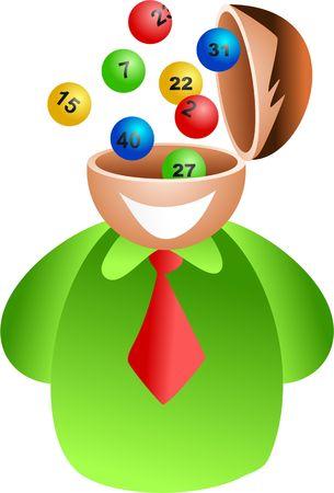 lottery: gelukkig mens met een open hersenen met loterij nummers - pictogram mensen serie