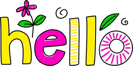 whimsical drawing of the word HELLO isolated on white Stock Photo - 2413722