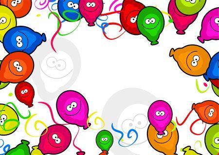 Decorativas de dibujos animados fiesta de cumplea�os de globos de dise�o de p�gina  Foto de archivo - 2448208