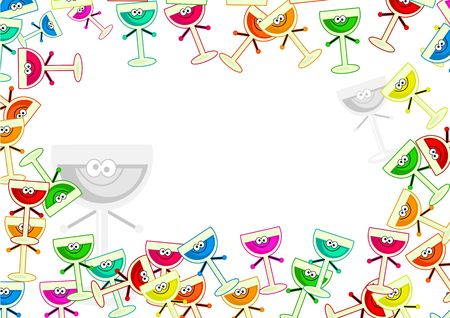 framing: decorative cartoon colourful drinks party frame border design