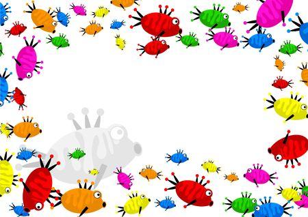 decorative cartoon colourful fish page border frame design Stock Photo - 2460189