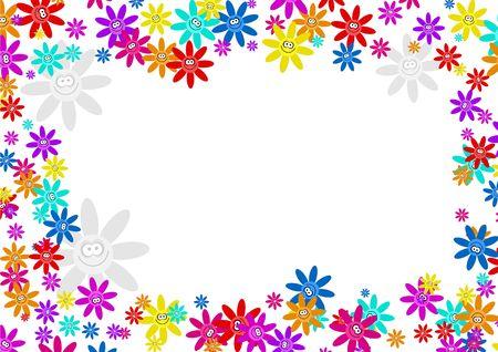 colourful decorative cartoon floral flower frame border design Banque d'images