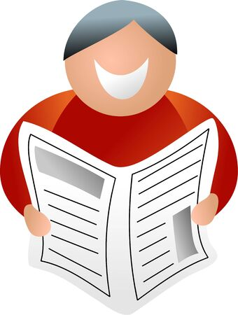 tabloid: happy man reading newspaper - icon people series Stock Photo