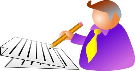 autograph: business man signing a document - icon people series Stock Photo