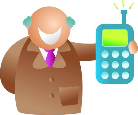happy senior man receiving message on mobile phone - icon people series Stock Photo - 2464761