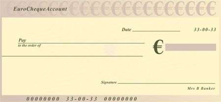 a generic cheque design in euro currency