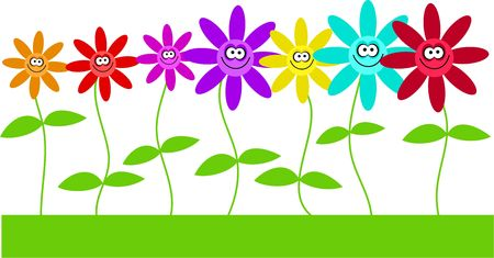 cute colourful row of flowers with happy faces isolated on white