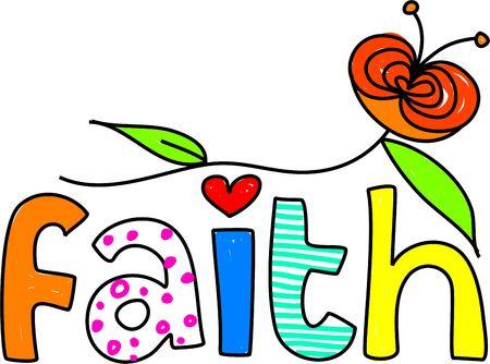 believe: whimsical dibujo de la palabra fe aislado en blanco