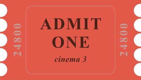 tokens: generic cinema event ticket isolated on white