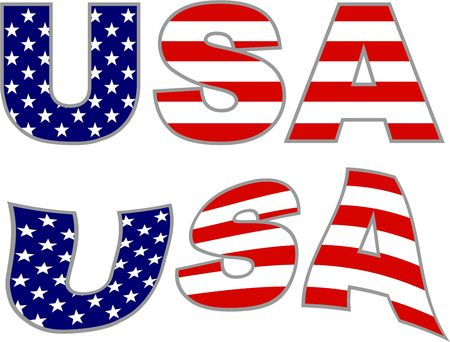 usa text with American flag islated on white Stock Photo
