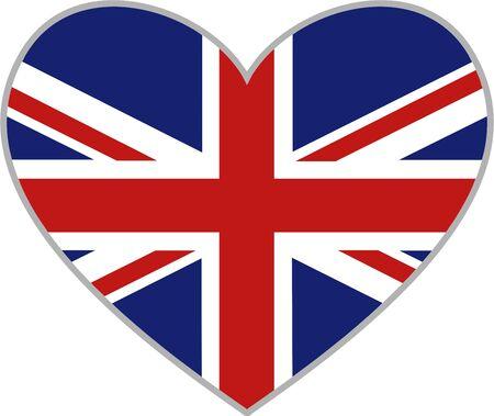 jack hearts: union jack heart shaped icon isolated on white