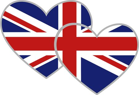 union jack flag heart shaped icon isolated on white photo
