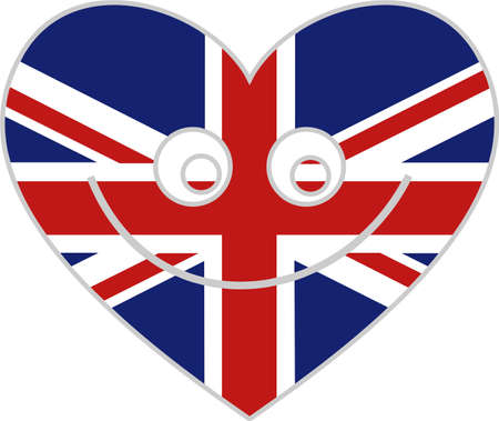united kingdom heart icon with happy face photo