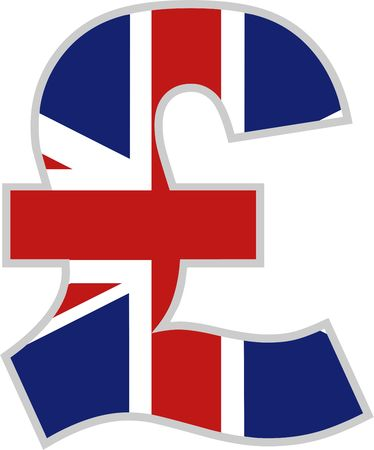sterlina: British Pound simbolo con bandiera Union Jack design  Archivio Fotografico