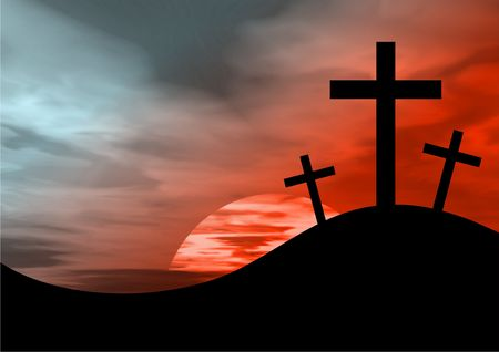 calvary: the cross of calvary against a blood sky background