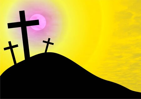 golgotha: the cross of Christ on the hill of calvary Stock Photo