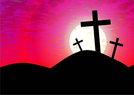 golgotha: The cross of calvary against a pink sunset Stock Photo