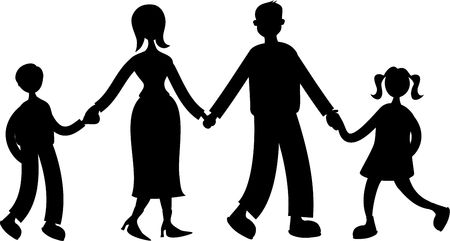 silhouette of family holding hands isolated on white Stock Photo