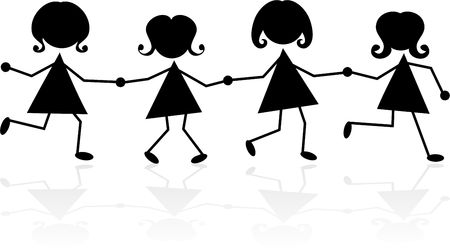 four friends: group of little girls in silhouette holding hands
