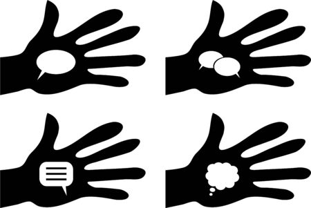 interact: collection of silhouette hands holding blank speech bubbles