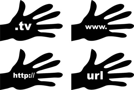 http: collection of silhouette hands holding domain names isolated on white