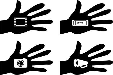 collection of silhouette hands holding film related icons photo