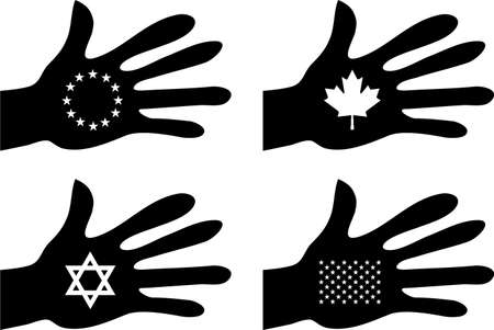 collection of silhouette hands holding flag related icons photo