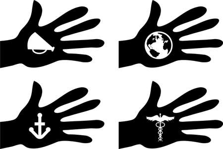 collection of silhouette hands holding objects and symbols photo