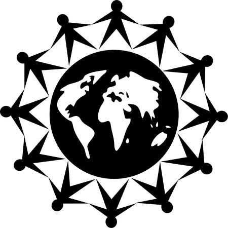 black and white icon style image of united people around the world photo