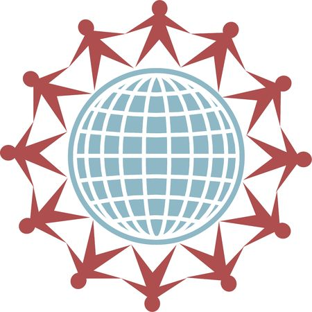 isolated icon of people connecting around the globe Stock Photo - 2615804