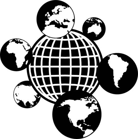 southamerica: isolated global icon featuring different continents of the world showing worldwide networking concept