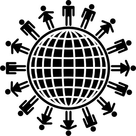 isolated concept icon showing men and women around the world photo