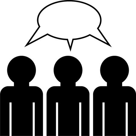 faceless: group icon of faceless people having a discussion